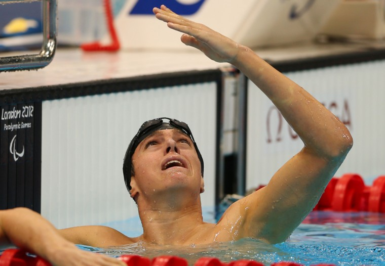 Gold medallist Ian Jaryd Silverman of the United States reacts after the Men's 400m Freestyle - S10 Final on day 7 of the London 2012 Paralympic Games at Aquatics Centre on September 5, 2012 in London, England. (Mike Ehrmann/Getty Images)