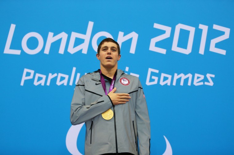 Gold medalist Ian Jaryd Silverman of the United States poses on the podium during the medal ceremony for the Men's 400m Freestyle - S10 Final on day 7 of the London 2012 Paralympic Games at Aquatics Centre on September 5, 2012 in London, England. (Mike Ehrmann/Getty Images)