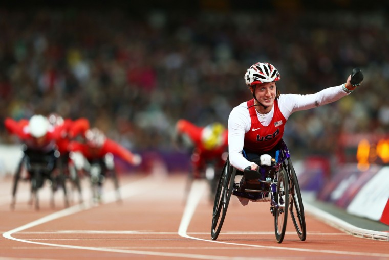 Tatyana Mcfadden of the United States celebrates as she wins gold in the Women's 800m T54 Final on day 7 of the London 2012 Paralympic Games at Olympic Stadium on September 5, 2012 in London, England. (Michael Steele/Getty Images)