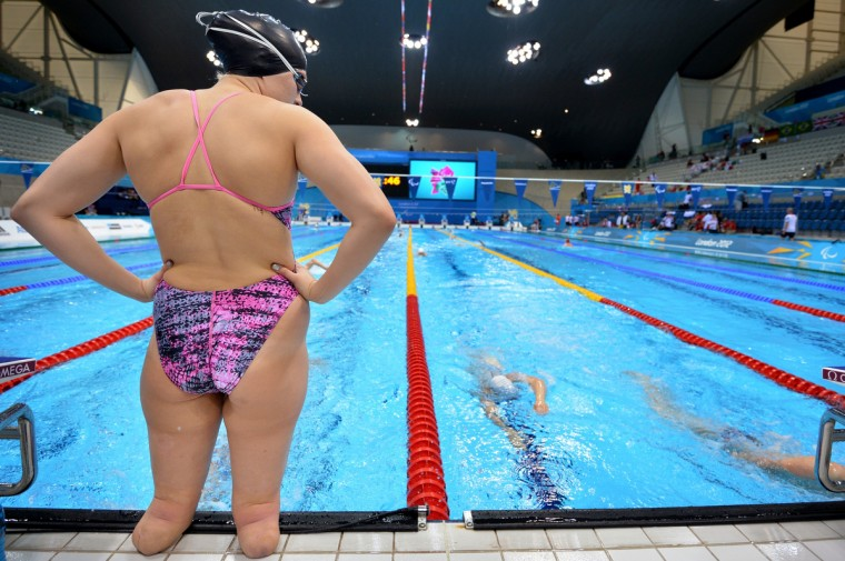US swimmer Jessica Long waits to enter the pool during a training session at the London 2012 Paralympic Games at the Olympic Park's Aquatics Centre in east London, on August 31, 2012. (Ben Stansall/GettyImages)