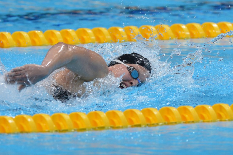 US swimmer Jessica Long competes during the women's 400m Freestyle - S8 swimming event at the London 2012 Paralympic Games at the Olympic Park's Aquatics Centre in east London on August 31, 2012. (Ben Stansall/GettyImages)
