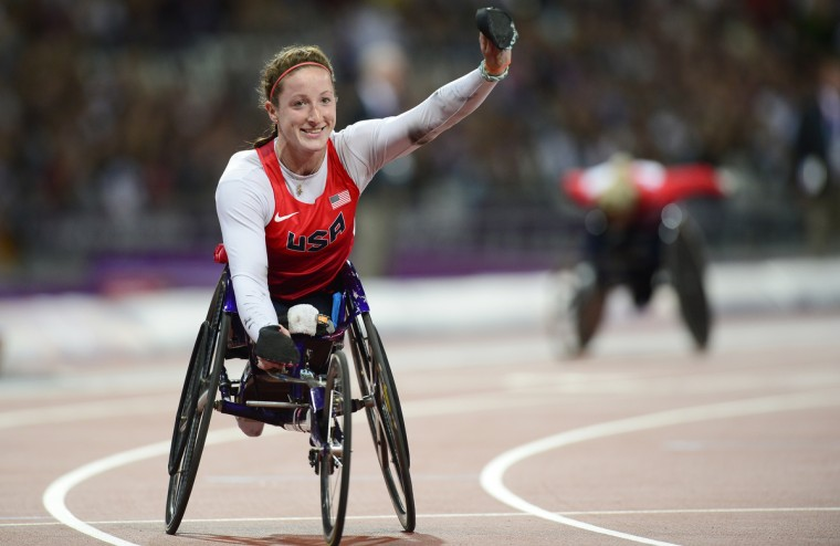 USA's Tatyana McFadden celebrates after winning the women's T54 400m at the Paralympic Games at the Olympic Park in east London, England, on September 3, 2012. (Leon Neal/GettyImages)