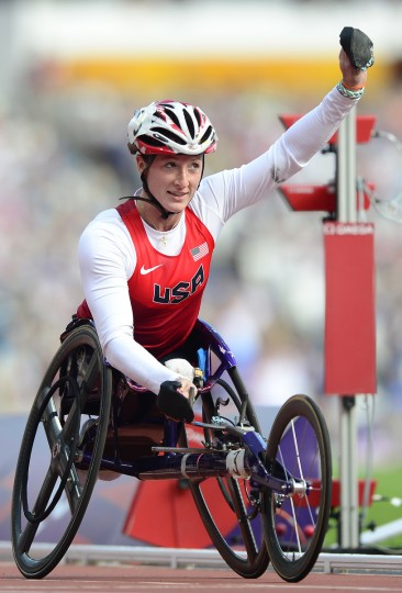 US athlete Tatyana McFadden celebrates after winning the women's 800m T54 round 1 heat 1 athletics event during the London 2012 Paralympic Games at the Olympic Stadium in east London. (Leon Neal/Getty Images)