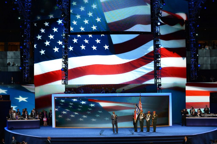 Saxophonist Branford Marsalis plays the National Anthem during the presentation of the Colors at the Time Warner Cable Arena in Charlotte, North Carolina on the second day of the Democratic National Convention (DNC). (Stan Honda/AFP/Getty Images)