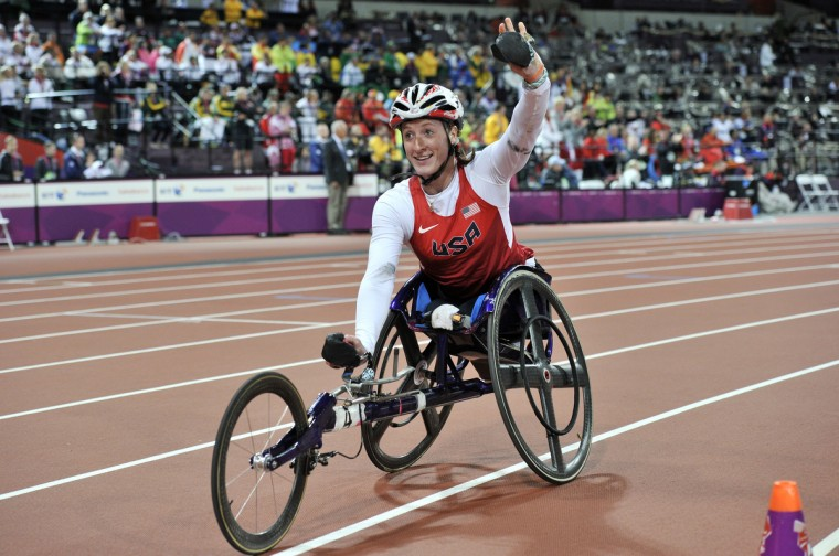 Tatyana McFadden celebrates winning the women's 800m T54 final during the athletics competition at the London 2012 Paralympic Games at the Olympic Stadium in east London on September 5, 2012. (Glyn Kirk/GettyImages)