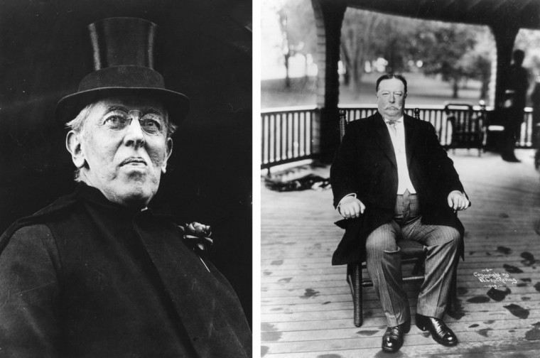 Woodrow Wilson (L) vs. William Howard Taft: In 1912, Woodrow Wilson won the presidential election to become the President of the United States. Photo Credit: (Hulton Archive/Getty Images)