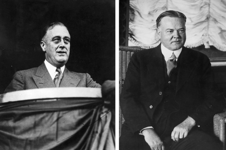 Franklin Delano Roosevelt (L) vs. Herbert Hoover: In 1932, Franklin Delano Roosevelt won the presidential election to become the President of the United States. Photo credit: (Hulton Archive/Getty Images)(L) and (General Photographic Agency/Getty Images)(R).