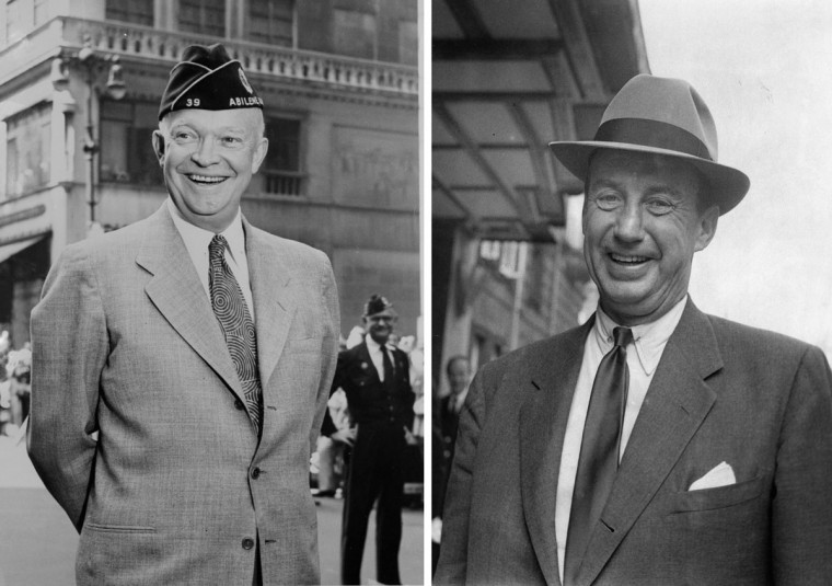 Dwight Eisenhower (L) vs. Adlai Stevenson: In 1956, Dwight Eisenhower won the presidential election to become the President of the United States for a second term. Photo credit: (Keystone/Getty Images)(L) and (Evening Standard/Getty Images)(R).