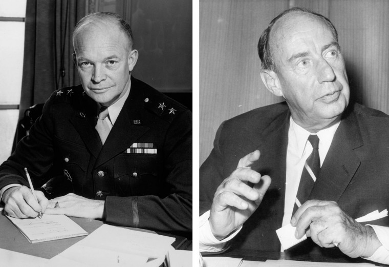 Dwight Eisenhower (L) vs. Adlai Stevenson: In 1952, Dwight Eisenhower won the presidential election to become the President of the United States. Photo Credit: (M. McNeill/Fox Photos/Getty Images)(L) and (Central Press/Getty Images)(R).