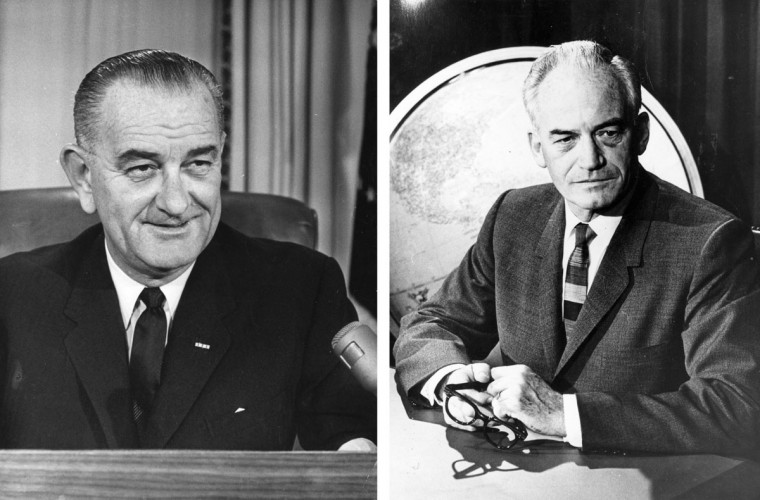 Lyndon Baines Johnson (L) vs. Barry Goldwater: In 1964, Lyndon B Johnson won the presidential election to become the President of the United States. Photo Credit: (Central Press/Getty Images)