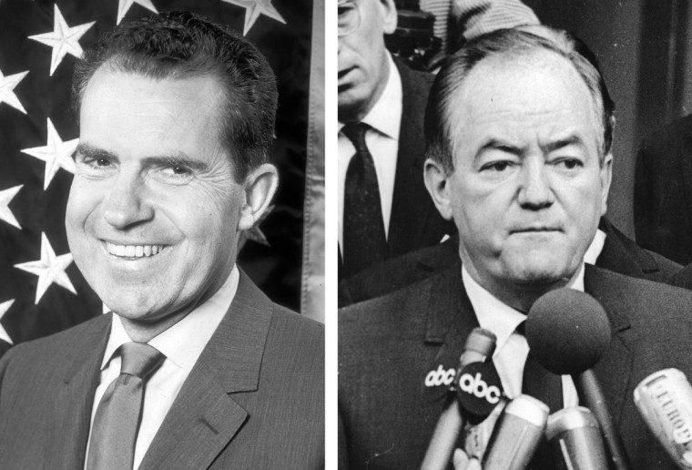 Richard Nixon (L) vs. Hubert Humphrey: In 1968, Richard Nixon won the presidential election to become the President of the United States. (Keystone/Getty Images)(L) and (Hulton Archive/Getty Images)(R).