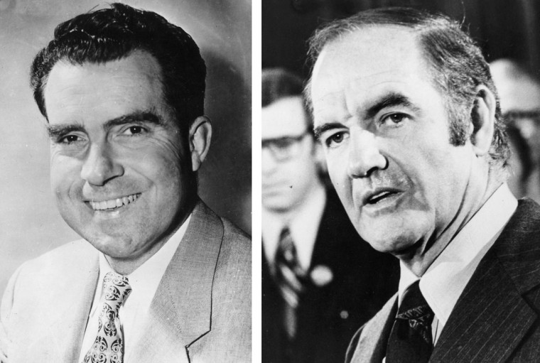 Richard Nixon (L) vs. George McGovern: In 1972, Richard Nixon won the presidential election to become the President of the United States for a second term. Photo Credit: (Keystone/Getty Images)(L) and (Keystone/Getty Images)(R).