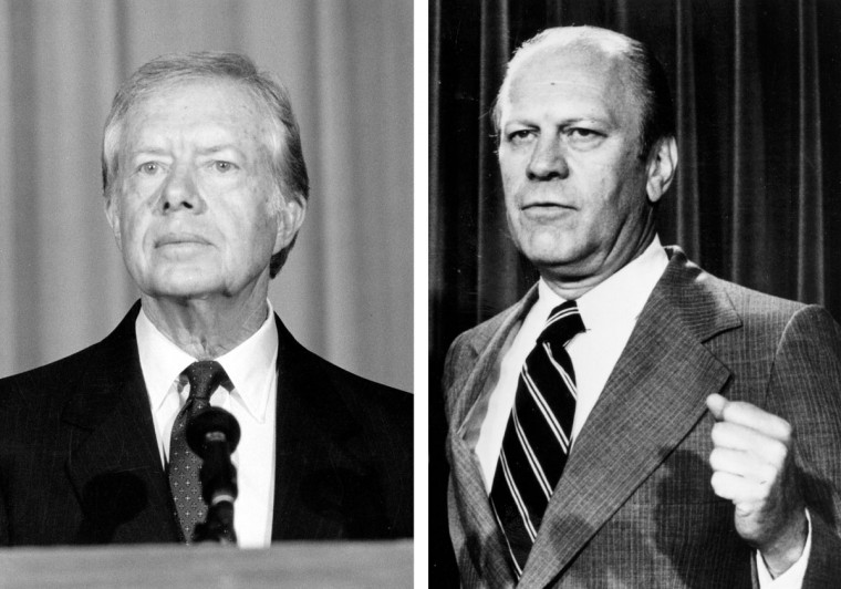 Jimmy Carter (L) vs. Gerald Ford: In 1976, Jimmy Carter won the presidential election to become the President of the United States. Photo Credit: (Keystone/Getty Images)(L) and (Keystone/Getty Images)(R).