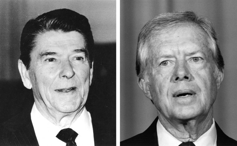 Ronald Reagan (L) vs. Jimmy Carter: In 1980, Ronald Reagan won the presidential election to become the President of the United States. Photo Credit: (Keystone/Getty Images)