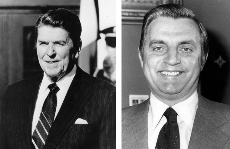 Ronald Reagan (L) vs. Walter Mondale: In 1984, Ronald Reagan won the presidential election to become the President of the United States. Photo Credit: (Keystone/Getty Images)(L) and (Dennis Oulds/Central Press/Getty Images)(R).