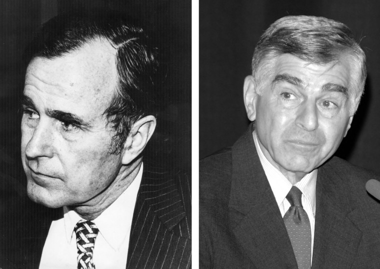 George Bush (L) vs. Michael Dukakis: In 1988, George H. W. Bush won the presidential election to become the President of the United States. Photo Credit: (Keystone/Getty Images)(L) and (Stephen Shugerman/Getty Images)(R).