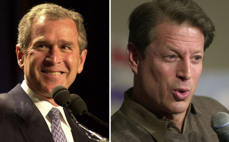 George W. Bush (L) vs. Al Gore: In 2000, George W. Bush won the presidential election to become the President of the United States. Photo Credit: (Chris Hondros)
