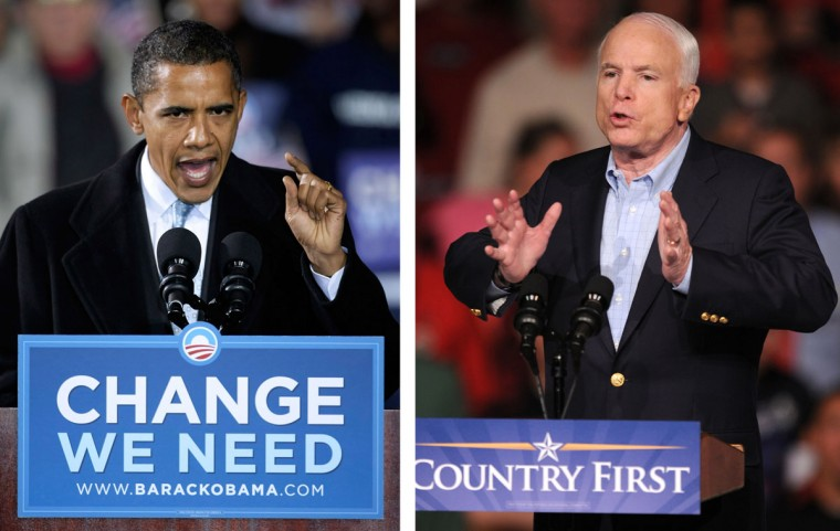 Barack Obama (L) vs. John McCain: In 2008, Barack Obama won the presidential election to become the President of the United States. Photo Credit: (Alex Wong/Getty Images)(L) and (Steve Pope/Getty Images)(R).