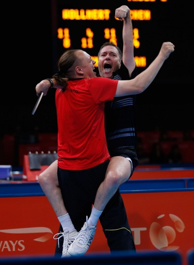 Jochen Wollmert of Germany celebrates with his coach after winning his Men's singles - Class 7 Gold medal match against William Bayley of Great Britain on day 4 of the London 2012 Paralympic Games at ExCel on September 2, 2012 in London, England. (Harry Engels/Getty Images)