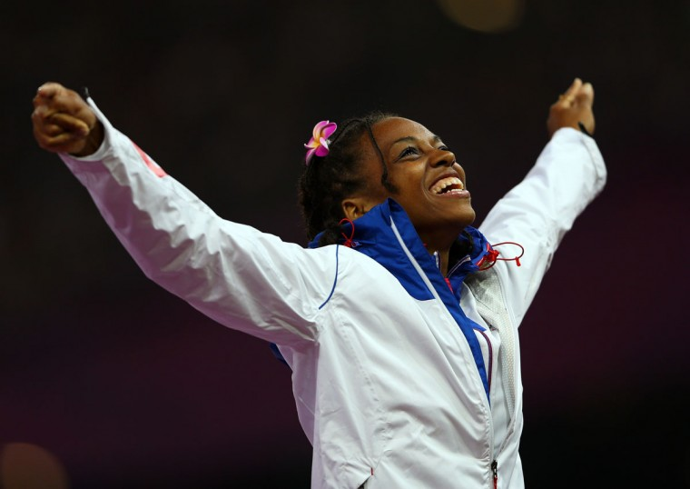Gold medalist Mandy Franxois Elie of France poses on the podium during the medal ceremony in the Women's 100m - T37 Final on day 4 of the London 2012 Paralympic Games at Olympic Stadium on September 2, 2012 in London, England. (Mike Ehrmann/Getty Images)