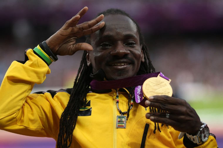 Gold medalist Alphanso Cunningham of Jamaica poses on the podium during the medal ceremony for the Men's Javelin Throw - F52/53 on day 6 of the London 2012 Paralympic Games at Olympic Stadium on September 4, 2012 in London, England. (Julian Finney/Getty Images)