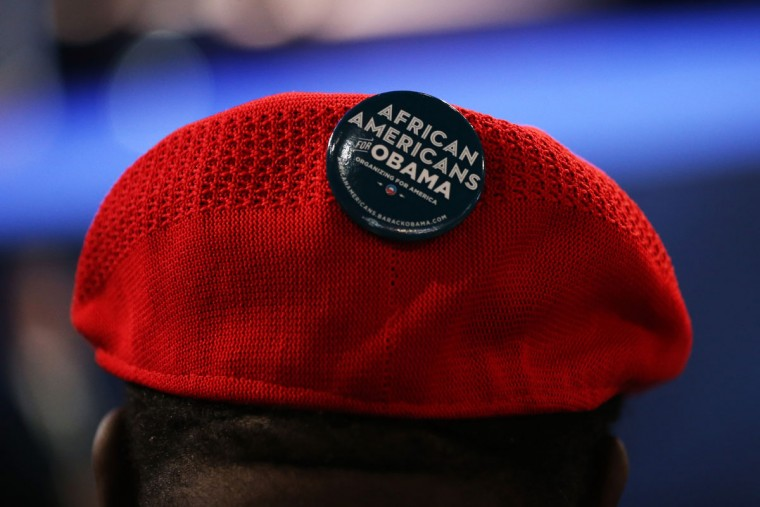 """A person wears a pin that says """"African Americans for Obama"""" on a hat during Day 1 of the Democratic National Convention on September 4, 2012. (Streeter Lecka/Getty Images)"""