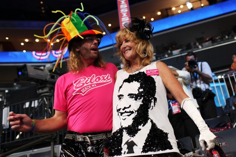 Rennick Taylor (L) and Kelly Jacob attend day one of the Democratic National Convention on September 4, 2012. (Justin Sullivan/Getty Images)