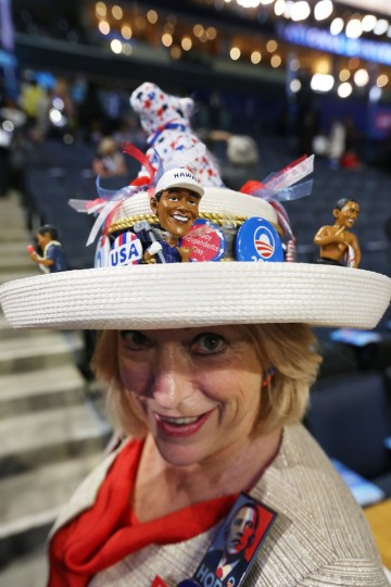 Delegate Joy A. Williams of Mississippi wears a decorated hat during day one of the Democratic National Convention on September 4, 2012 in Charlotte, North Carolina. (Streeter Lecka/Getty Images)