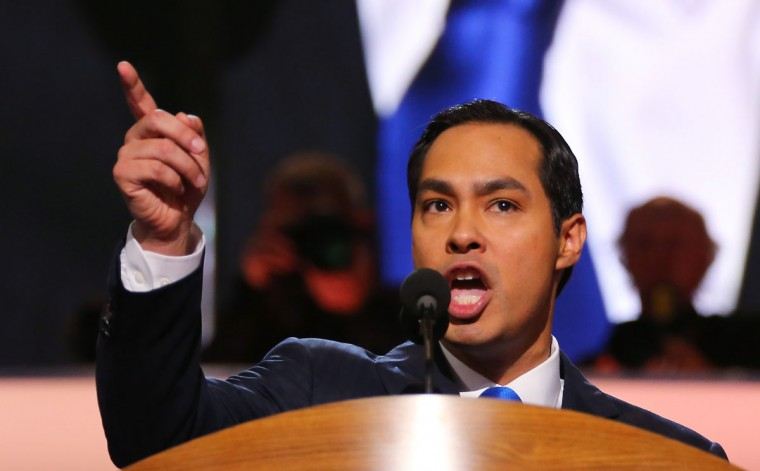 San Antonio Mayor Julian Castro gives the keynote address on stage during day one of the Democratic National Convention at Time Warner Cable Arena on September 4, 2012 in Charlotte, North Carolina. (Joe Raedle/Getty Images)