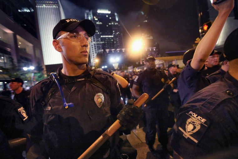 Police face off with protesters during a march on the Democratic National Convention September 4, 2012 in Charlotte, North Carolina. (Scott Olson/Getty Images)