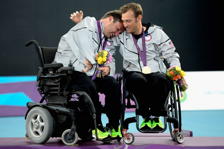 Nicholas Taylor of the United States and teammate David Wagner celebrates after the Quad Doubles Wheelchair Tennis Gold Medal match on day 7 of the London 2012 Paralympic Games at Eton Manor on September 5, 2012 in London, England. ( Dennis Grombkowski/Getty Images)