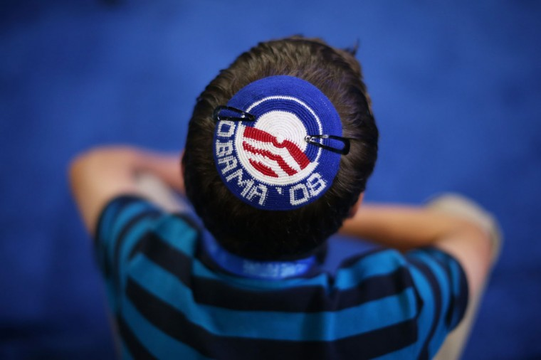 Joseph Block wears an Obama '08 yarmulke during day two of the Democratic National Convention at Time Warner Cable Arena in Charlotte, North Carolina. (Justin Sullivan/Getty Images)