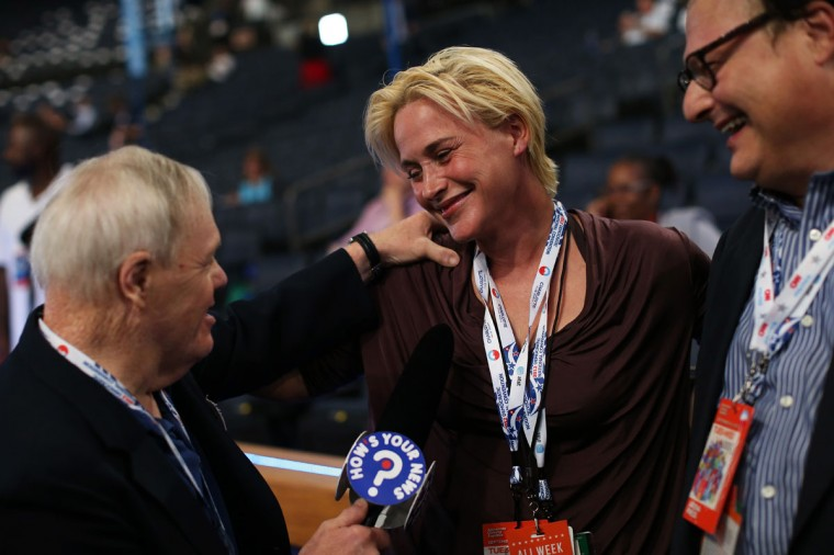 Actors Patricia Arquette and Wayne Knight (R) are interviewed on the floor prior to the start of day two of the Democratic National Convention at Time Warner Cable Arena in Charlotte, North Carolina. (Justin Sullivan/Getty Images)