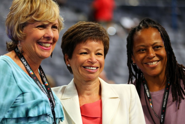 Senior Adviser to the President Valerie Jarrett (C) poses with two women during day two of the Democratic National Convention at Time Warner Cable Arena in Charlotte, North Carolina. (Joe Raedle/Getty Images)