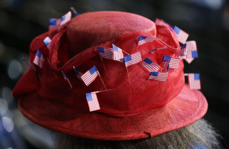 A woman wears a hat decorated with American flags during day two of the Democratic National Convention at Time Warner Cable Arena in Charlotte, North Carolina. (Streeter Lecka/Getty Images)