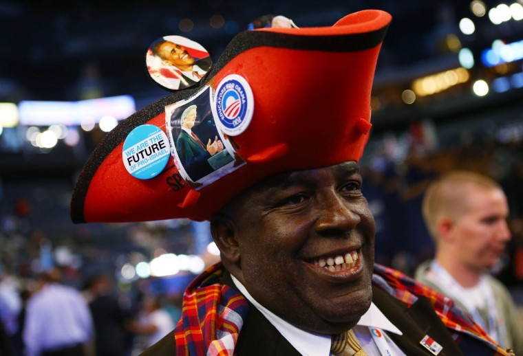Edward Baker Phillips wears a hat with a picture of Former U.S. President Bill Clinton on it during day two of the Democratic National Convention at Time Warner Cable Arena in Charlotte, North Carolina. (Joe Raedle/Getty Images)