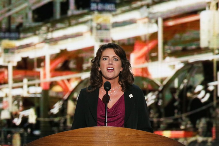Auto worker Karen Eusanio of Ohio speaks during day two of the Democratic National Convention at Time Warner Cable Arena on September 5, 2012 in Charlotte, North Carolina. (Alex Wong/Getty Images)