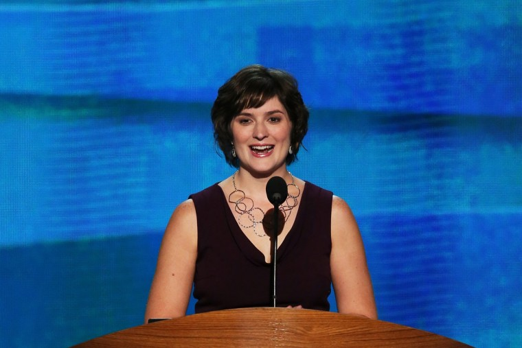 Attorney Sandra Fluke speaks during day two of the Democratic National Convention at Time Warner Cable Arena on September 5, 2012 in Charlotte, North Carolina. (Alex Wong/Getty Images)