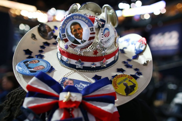 Renee Watson of San Antonio, TX wears a cowboy hat decorated with campaign buttons during the final day of the Democratic National Convention at Time Warner Cable Arena on September 6, 2012 in Charlotte, North Carolina. The DNC, which concludes today, nominated U.S. President Barack Obama as the Democratic presidential candidate. (Tom Pennington/Getty Images)