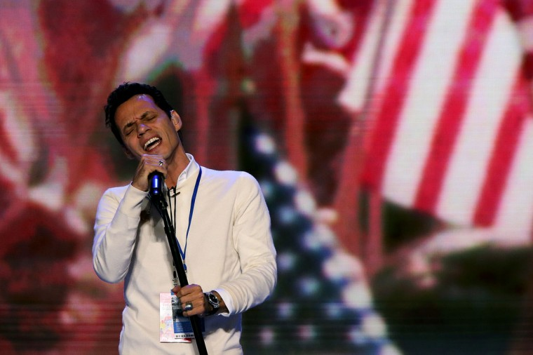 Musician Marc Anthony performs for a soundcheck during the final day of the Democratic National Convention at Time Warner Cable Arena on September 6, 2012 in Charlotte, North Carolina. The DNC, which concludes today, nominated U.S. President Barack Obama as the Democratic presidential candidate. (Alex Wong/Getty Images)