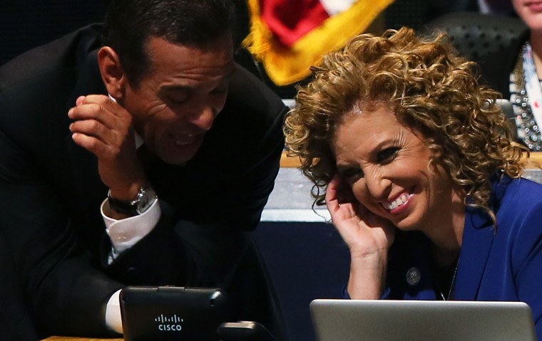 DNC Chair Los Angeles Mayor Antonio Villaraigosa talks with Democratic National Committee Chair, U.S. Rep. Debbie Wasserman Schultz (D-FL) during the final day of the Democratic National Convention at Time Warner Cable Arena on September 6, 2012 in Charlotte, North Carolina. The DNC, which concludes today, nominated U.S. President Barack Obama as the Democratic presidential candidate. (Alex Wong/Getty Images)