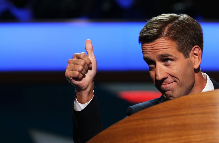 Attorney General of Delaware Beau Biden gestures on stage during the final day of the Democratic National Convention at Time Warner Cable Arena on September 6, 2012 in Charlotte, North Carolina. The DNC, which concludes today, nominated U.S. President Barack Obama as the Democratic presidential candidate. (Chip Somodevilla/Getty Images)