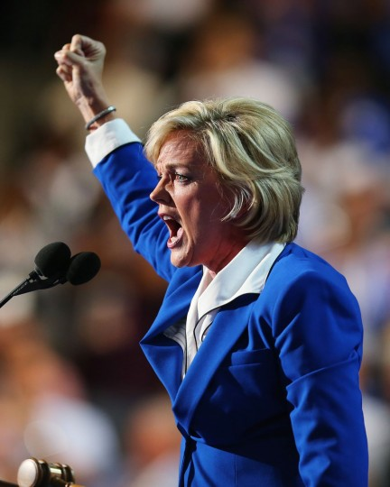 Former Michigan Gov. Jennifer Granholm speaks on stage during the final day of the Democratic National Convention at Time Warner Cable Arena on September 6, 2012 in Charlotte, North Carolina. The DNC, which concludes today, nominated U.S. President Barack Obama as the Democratic presidential candidate. (Photo by Joe Raedle/Getty Images)