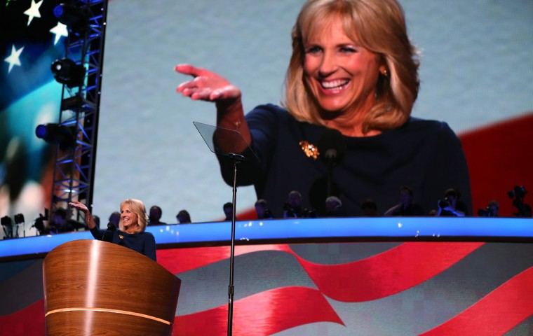 Second lady Dr. Jill Biden speaks on stage during the final day of the Democratic National Convention at Time Warner Cable Arena on September 6, 2012 in Charlotte, North Carolina. The DNC, which concludes today, nominated U.S. President Barack Obama as the Democratic presidential candidate. (Tom Pennington/Getty Images)