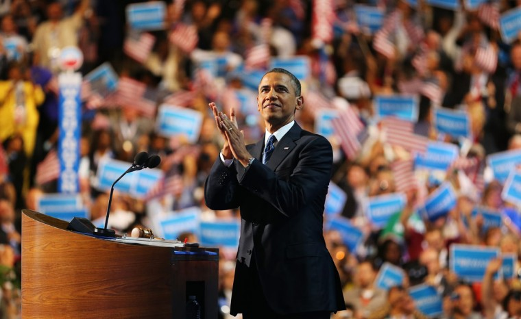 Democratic presidential candidate, U.S. President Barack Obama speaks on stage to accept the nomination for president during the final day of the Democratic National Convention at Time Warner Cable Arena on September 6, 2012 in Charlotte, North Carolina. The DNC, which concludes today, nominated U.S. President Barack Obama as the Democratic presidential candidate. (Joe Raedle/Getty Images)