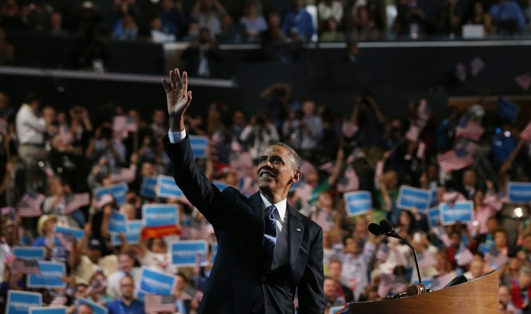 Democratic presidential candidate, U.S. President Barack Obama waves on stage as he accepts the nomination for president during the final day of the Democratic National Convention at Time Warner Cable Arena on September 6, 2012 in Charlotte, North Carolina. The DNC, which concludes today, nominated U.S. President Barack Obama as the Democratic presidential candidate. (Justin Sullivan/Getty Images)
