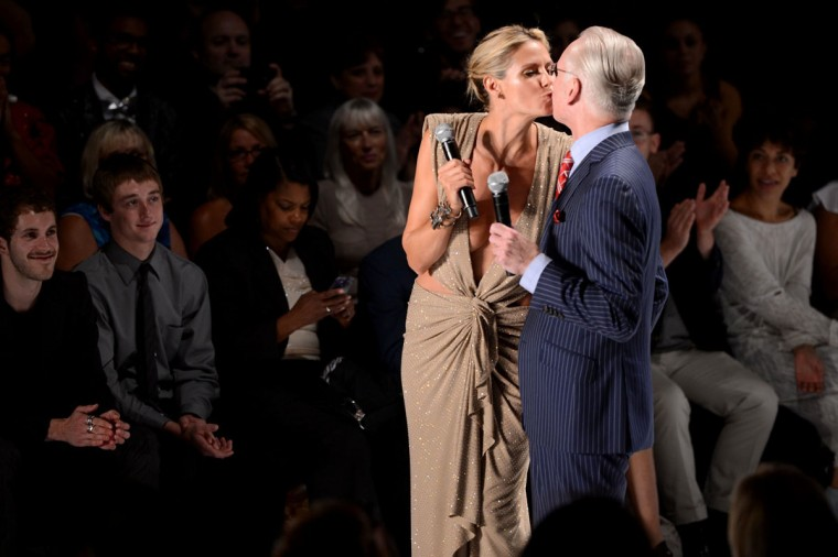 Model Heidi Klum and Tim Gunn attend the Project Runway Spring 2013 fashion show during Mercedes-Benz Fashion Week at Lincoln Center in New York City. (Stephen Lovekin/Getty Images for Mercedes-Benz Fashion Week)