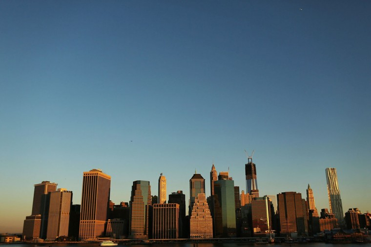 The skyline rises over Lower Manhattan on the eleventh anniversary of the terrorist on September 11, 2012 in the Brooklyn borough of New York City. (Spencer Platt/Getty Images)
