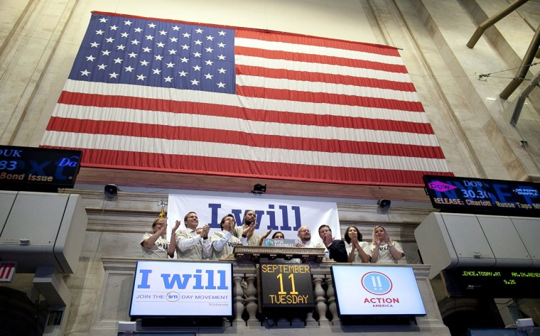 The opening bell is rung on the floor of the New York Stock Exchange on the eleventh anniversary of the 9/11 terrorist attacks on September 11, 2012 in New York City. (Allison Joyce/Getty Images)