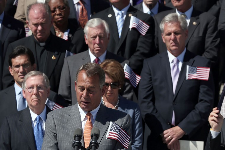 Speaker of the House John Boehner (R-OH) delivers remarks at a remembrance ceremony for the victims of the attacks of September 11 at the U.S. Capitol September 11, 2012 in Washington, DC. (Win McNamee/Getty Images)